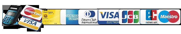 Mastercard, Visa, Amexco, Diners Club, JCB, Maestrocard, Postcard,