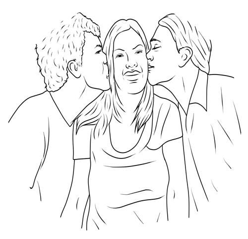 Eifersucht-bekaempfen-so-klappts - Frau mit 2 Männer, die auf die Wange küssen
